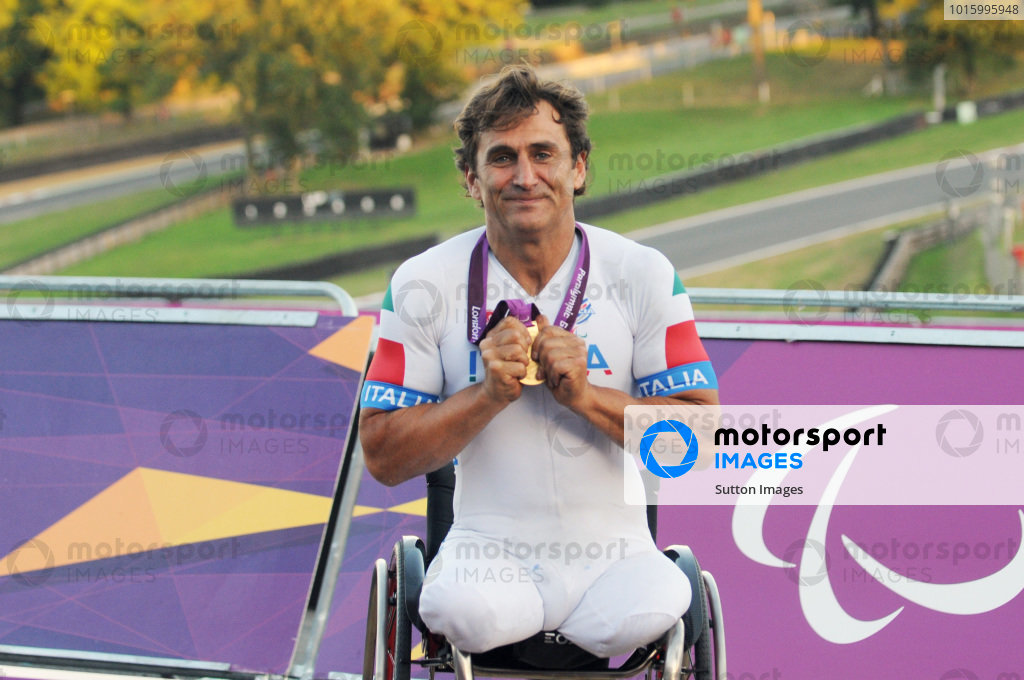 Alex Zanardi (ITA) was the Gold Medal Winner of the Men's Individual H4 Road Race at the 2012 Paralympic Games, his second Gold Medal of the Games. Paralympic Cycling, Men's Individual H4 Road Race, Brands Hatch, England, 7 September 2012.
