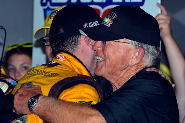 August 30 - September 1, 2013, Hampton, Georgia USA Kyle Busch and Joe Gibbs, M&M's Toyota Camry in Victory Lane © 2013, Brian Czobat LAT Photo USA