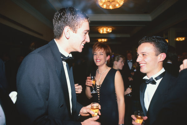 1996 Autosport Awards. Grosvenor House Hotel, London. 1st December 1996. Darren Turner wins the Autosport/McLaren Young Driver Award and chats with past winner, Oliver Gavin. World Copyright: LAT Photographic. Ref:  Colour Transparency.