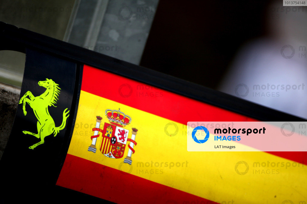 Hungaroring, Budapest, Hungary27th July 2012Spanish flag for Alonso next to the Prancing Horse logo on the Ferrari pit boards.World Copyright: Andy Hone/LAT Photographicref: Digital Image IMG_8868
