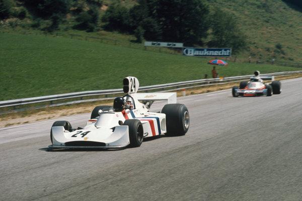 Osterreichring, Zeltweg, Austria. 16-18 August 1974. James Hunt (Hesketh Ford) 3rd position. Action. Ref: 74AUT04. World Copyright: LAT Photographic