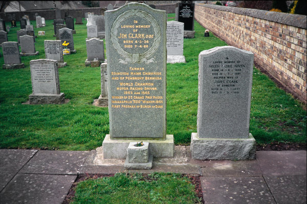 Chirnside Old Church, Duns, Scotland. The headstone on the grave buried next to his Mother, Helen.World Copyright: LAT Photographic.Ref:  Colour Transparency.