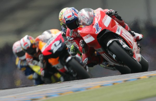 2008 MotoGP Championship - RaceLe Mans, France. 18th May, 2008.Casey Stoner Ducati Marlboro Team leads the race before a mechanical problem forced him into the pits to change bikes.World Copyright: Martin Heath / LAT Photographic