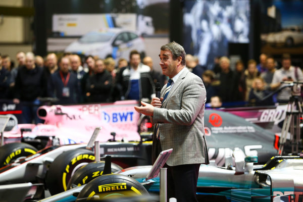 Autosport International Exhibition. National Exhibition Centre, Birmingham, UK. Sunday 14th January 2018. Nigel Mansell talks on the F1 Racing Stand.World Copyright: Mike Hoyer/JEP/LAT Images Ref: MDH19903