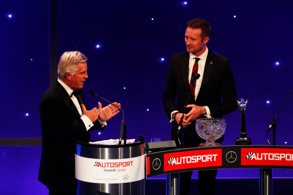2015 Autosport Awards. Grosvenor House Hotel, Park Lane, London. Sunday 6 December 2015. National Driver, Gordon Shedden. World Copyright: Sam Bloxham/LAT Photographic. ref: Digital Image _SBL4380