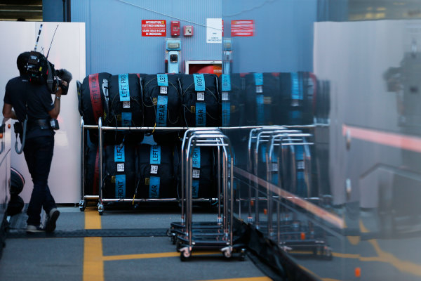 Autodromo Nazionale di Monza, Monza, Italy. Sunday 6 September 2015. A cameraman films some tyres in their racks. World Copyright: Jed Leicester/LAT Photographic ref: Digital Image _L1_9612