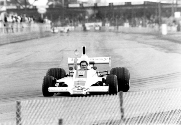 1975 British Grand Prix.Silverstone, Great Britain. 17th-19th July 1975.Graham Hill (Embassy Hill-GH1 Ford), drives a demonstration lap at his final British Grand Prix, action.World Copyright: LAT Photographic.ref: B/W L75/1732/32a