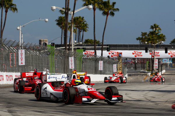 11-13 April, 2014, Long Beach, California USA Carlos Huertas leads Tony Kanaan, Sebastian Saavedra and Juan Pablo Montoya ©2014, Phillip Abbott LAT Photo USA