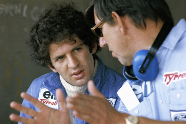 Jody Scheckter talks to team boss Ken Tyrrell.