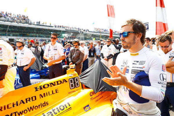 Verizon IndyCar Series Indianapolis 500 Race Indianapolis Motor Speedway, Indianapolis, IN USA Sunday 28 May 2017 Fernando Alonso, McLaren-Honda-Andretti Honda. World Copyright: Steven Tee/LAT Images ref: Digital Image _R3I8198