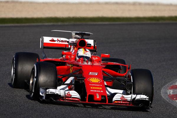 Circuit de Barcelona Catalunya, Barcelona, Spain. Tuesday 07 March 2017. Sebastian Vettel, Ferrari SF70H. World Copyright: Glenn Dunbar/LAT Images ref: Digital Image _31I5217