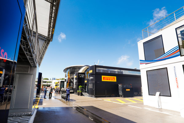 Circuit de Catalunya, Barcelona, Spain. Thursday 11 May 2017. Blue sky over the paddock. World Copyright: Steven Tee/LAT Images ref: Digital Image _O3I1531