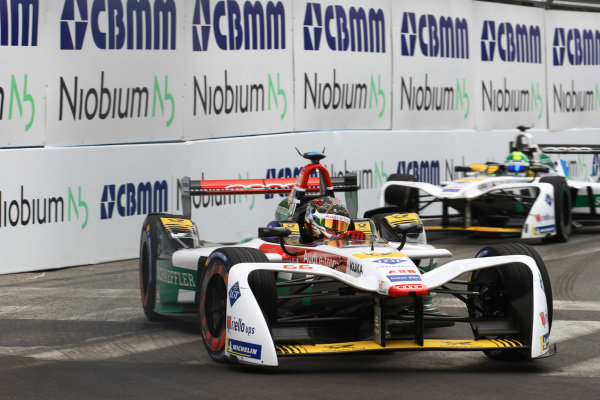 Daniel Abt (GER), Audi Sport ABT Schaeffler, Audi e-tron FE04, leads Lucas Di Grassi (BRA), Audi Sport ABT Schaeffler, Audi e-tron FE04.