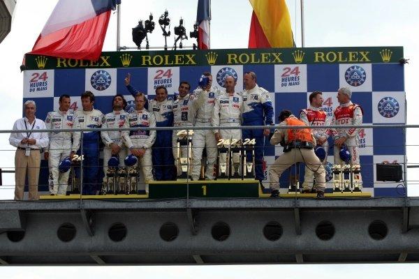 Le Mans 24 Hours LMP1 podium and results:1st David Brabham (AUS) / Alexander Wurz (AUT) / Marc Gene (ESP), Peugeot, centre.2nd Sebastien Bourdais (FRA) / Franck Montagny (FRA) / Stephane Sarrazine (FRA), Peugeot, left.3rd Tom Kristensen (DEN) / Rinaldo Capello (ITA) / Allan McNish (GBR) Audi, right.Le Mans 24 Hours, La Sarthe, Le Mans, France, 13-14 June 2009.