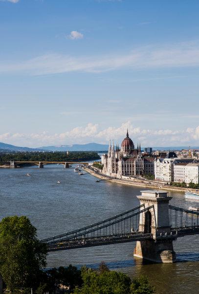 Hungaroring, Budapest, Hungary. Monday 5 June 2017. A view of the city and Szechenyi Chain Bridge. World Copyright: Zak Mauger/LAT Images ref: Digital Image _56I0549