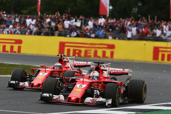 Silverstone, Northamptonshire, UK.  Sunday 16th July 2017. Sebastian Vettel, Ferrari SF70H suffers a puncture World Copyright: JEP/LAT Images ref: Digital Image Vettel-13