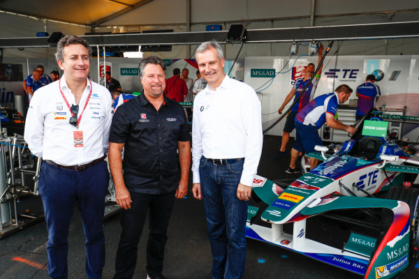 2016/2017 FIA Formula E Championship. Round 9 - New York City ePrix, Brooklyn, New York, USA. Saturday 15 July 2017. Alejandro Agag, Michael Andretti and Jens Marquardt, BMW Motorsport Director pose for a picture. Photo: Sam Bloxham/LAT/Formula E ref: Digital Image _W6I2024