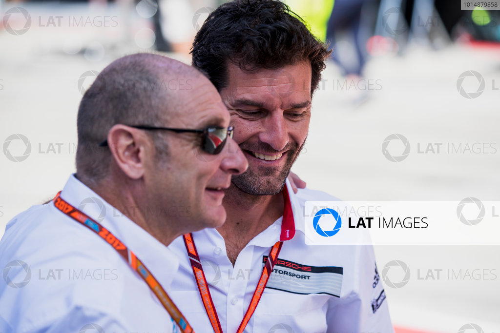 2017 FIA Formula 2 Round 5. Red Bull Ring, Spielberg, Austria. Sunday 9 July 2017. Mark Webber with Bruno Michel. Photo: Zak Mauger/FIA Formula 2. ref: Digital Image _54I0270