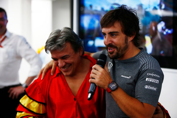 Hungaroring, Budapest, Hungary.  Saturday 29 July 2017. Fernando Alonso, McLaren, celebrates his birthday. World Copyright: Andy Hone/LAT Images  ref: Digital Image _ONY2083