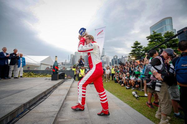 FIA Formula E Hong Kong e-Prix. Podium. Nick Heidfeld (GER), Mahindra Racing, Spark-Mahindra, Mahindra M3ELECTRO.  Hong Kong Harbour, Hong Kong, Asia. Sunday 9 October 2016. Photo: Adam Warner / FE / LAT ref: Digital Image _L5R8368