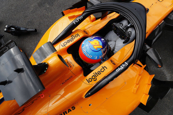 The cockpit of Fernando Alonso, McLaren.
