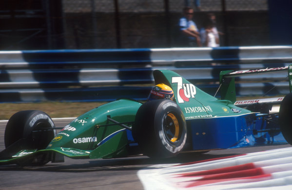 1991 Italian Grand Prix.Monza, Italy.6-8 September 1991.Roberto Moreno (Jordan 191 Ford). He exited the race on lap 3 after a spin with brake problems. This was his first drive for Jordan, after being disposed of by Benetton who had stolen Michael Schumacher.Ref-91 ITA 16.World Copyright - LAT Photographic