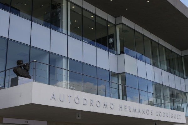 Autodromo Hermanos Rodriguez grandstand signage at Formula One World Championship, Rd19, Mexican Grand Prix, Preparations, Circuit Hermanos Rodriguez, Mexico City, Mexico, Thursday 27 October 2016.