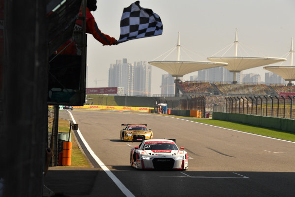 Thong Wei Fung (HK) Phoenix Racing Asiacrosses the line to take the chequered flag for 4th Position at Audi R8 LMS Cup, Rd11 and Rd12, Shanghai International Circuit, Shanghai, China, 4-5 November 2016.