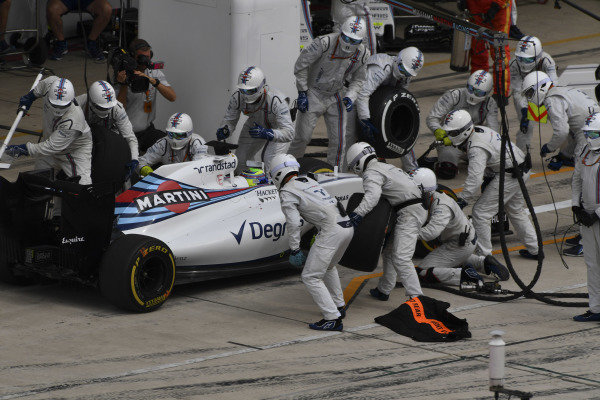 Felipe Massa (BRA) Williams FW38 pit stop at Formula One World Championship, Rd18, United States Grand Prix, Race, Circuit of the Americas, Austin, Texas, USA, Sunday 23 October 2016.