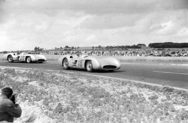 Juan Manuel Fangio, Mercedes W196, leads Karl Kling, Mercedes W196.