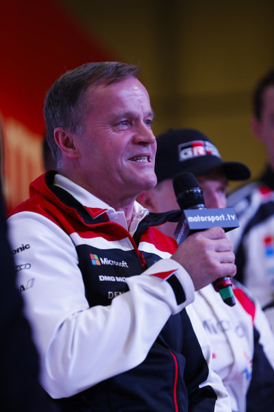 Colin Clark talks to the Toyota WRC team on the Autosport Stage.