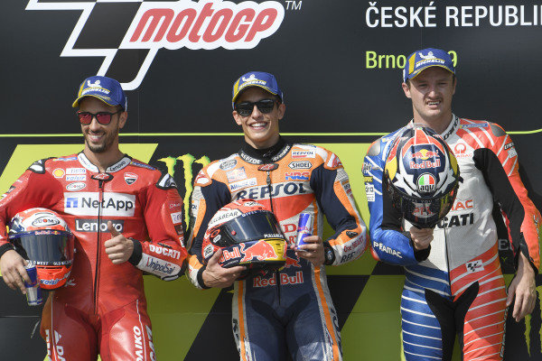 Race winner Marc Marquez, Repsol Honda Team, second place Andrea Dovizioso, Ducati Team, third place Jack Miller, Pramac Racing