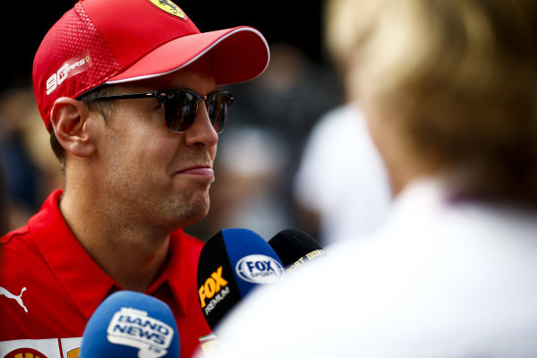 Sebastian Vettel, Ferrari speaks to the media