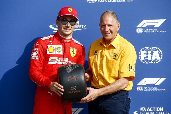 Jody Scheckter presents Pole Sitter Charles Leclerc, Ferrari with the Pirelli Pole Position Award