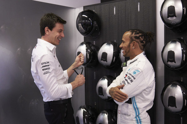 Toto Wolff, Executive Director (Business), Mercedes AMG, with Lewis Hamilton, Mercedes AMG F1