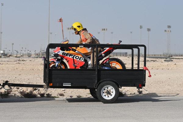 The crashed bike of Jorge Lorenzo, Repsol Honda Team.