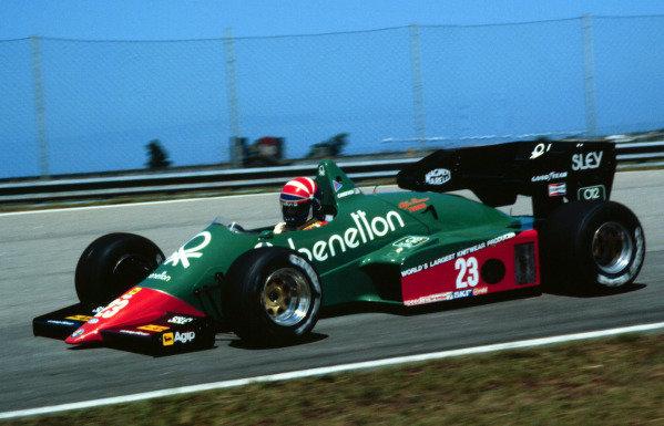 1984 Brazilian Grand Prix.Jacarepagua, Rio de Janeiro, Brazil.23-25 March 1984.Eddie Cheever (Benetton Alfa Romeo 184T) 4th position.World Copyright - LAT Photographic