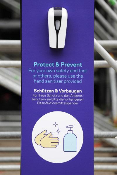 A hand sanitiser dispenser