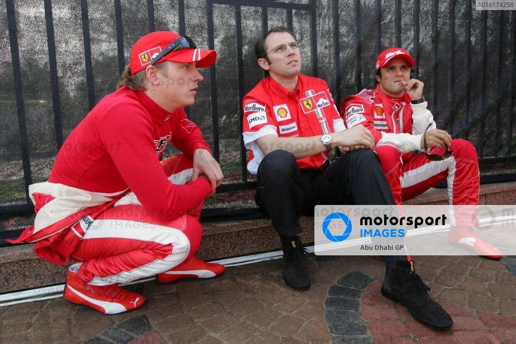 (L-R): Kimi Raikkonen (FIN) Ferrari, Stefano Domenicali (ITA) Ferrari, Felipe Massa (BRA) Ferrari. Abu Dhabi to host Formula One Grand Prix in 2009, Abu Dhabi, United Arab Emirates, 3 February 2007. DIGITAL IMAGE