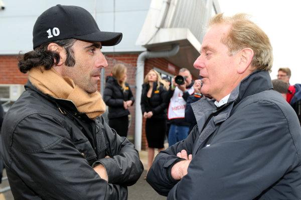 2015 BRDC Formula 4 Championship, Oulton Park, Cheshire. 4th - 6th April 2015. Dario Franchitti (GBR) and Jonathan Palmer (GBR). World Copyright: Ebrey / LAT Photographic.