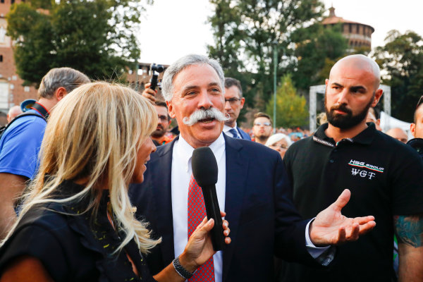 Autodromo Nazionale di Monza, Italy. Thursday 31 August 2017. Chase Carey, Chairman, Formula One, at the parade in Milan. World Copyright: Steven Tee/LAT Images  ref: Digital Image _R3I2269
