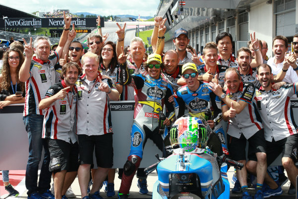 2017 Moto2 Championship - Round 11 Spielberg, Austria Sunday 13 August 2017 Franco Morbidelli, Marc VDS, Alex Marquez, Marc VDS celebrate with the team World Copyright: Gold and Goose / LAT Images ref: Digital Image 686838
