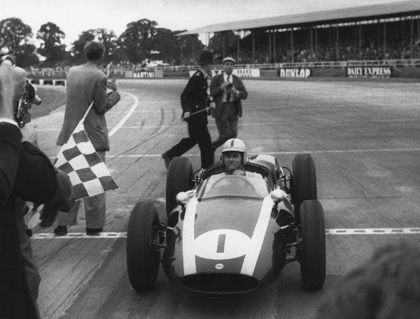 Silverstone, England. 16th July 1960. Jack Brabham (Cooper T53-Climax), 1st position, portrait. World Copyright: LAT Photographic. Ref: B/W Print.
