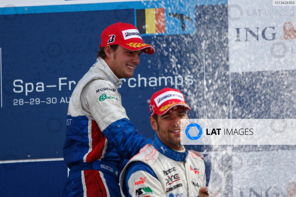 Spa-Francorchamps, Spa, Belgium. 30th August 2009.Sunday Race.Diego Nunes (BRA, iSport International) and Roldan Rodriguez (ESP, Piquet GP) on the podium. World Copyright: Andrew Ferraro / GP2 Series Media Service.Ref: _H0Y0244 jpg