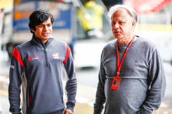 Circuit de Catalunya, Barcelona, Spain. Thursday 11 May 2017. Arjun Maini, Development Driver, Haas F1 Team, with Gene Haas, Owner and Founder, Haas F1. World Copyright: Andy Hone/LAT Images ref: Digital Image _ONY2964