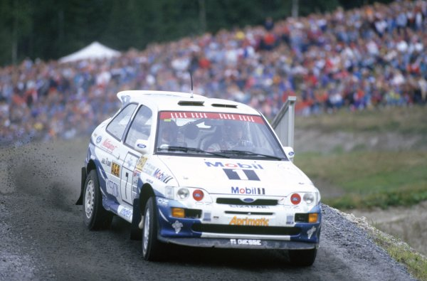 1994 World Rally Championship.1000 Lakes Rally, Finland. 26-28 August 1994.Tommi Makinen/Seppo Harjanne (Ford Escort RS Cosworth), 1st position.World Copyright: LAT PhotographicRef: 35mm transparency 94RALLY08
