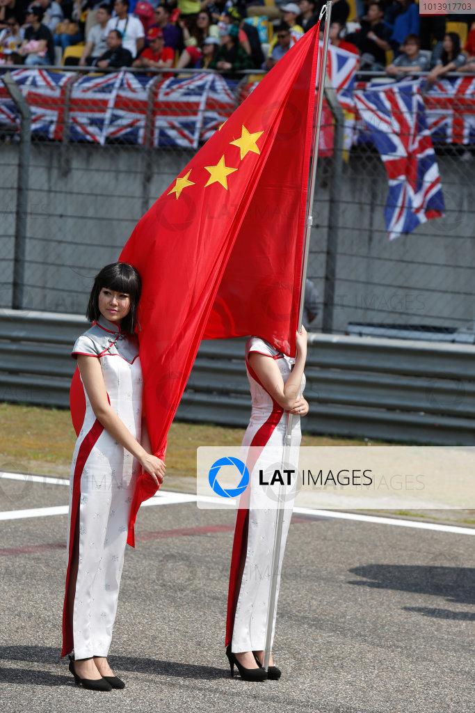 Shanghai International Circuit, Shanghai, China Sunday 14th April 2013 Grid Girls. World Copyright: Charles Coates/LAT Photographic ref: Digital Image _N7T5757