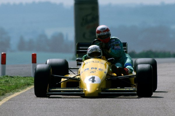 Eric Bernard (FRA) Ralt RT22 gives Paul Belmondo (FRA) Lola a lift back to the pits.
