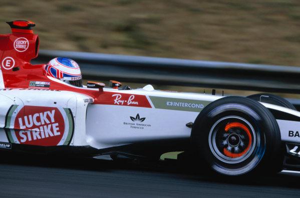 2004 Hungarian Grand Prix Hungaroring, Hungary. 13th - 15th August. Jenson Button, BAR Honda 006. Action. World Copyright:Charles Coates/LAT Photographic Ref:35mm Image:A12