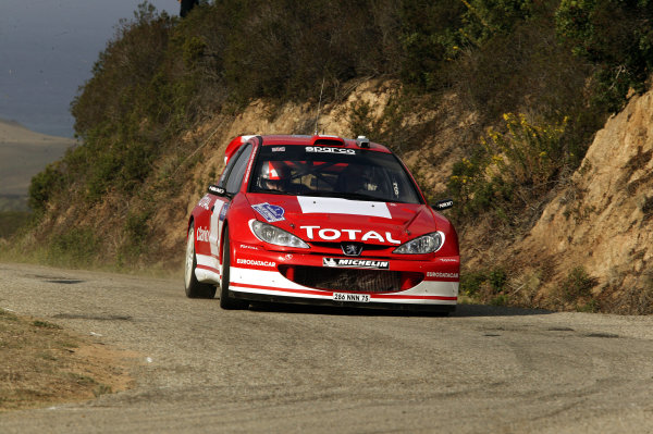 2003 FIA World Rally Champs. Round Twelve Corsica Rally 16th-19th October 2003.Richard Burns, Peugeot, action. World Copyright: McKlein/LAT